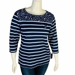 Karen Scott Blue Top Floral Striped Sz 1X